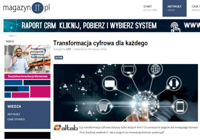 Altab w MagazynieIT.pl: Transformacja cyfrowa dla każdego