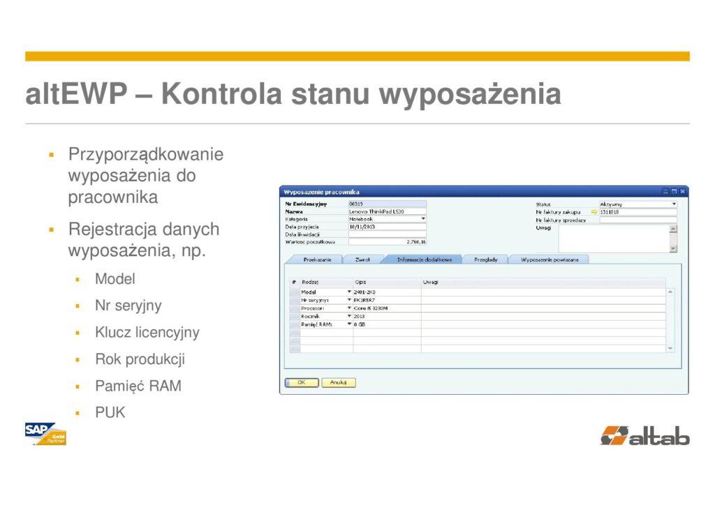 parametry wyposażenia -Ewidencja wyposażenia w SAP Business One