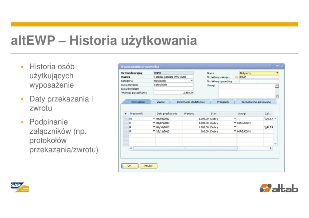 historia użytkowania - Ewidencja użytkowania w SAP Business One