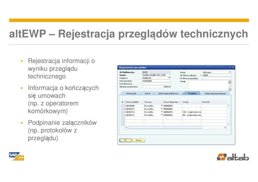 przeglądy techniczne - Ewidencja wyposażenia w SAP Business One