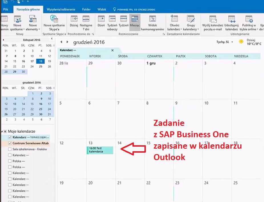 Integracja z SAP Business One z MS Outlook