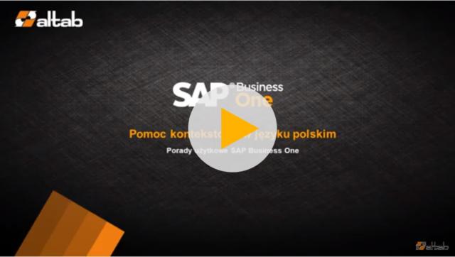Help kontekstowy w SAP Business One HANA