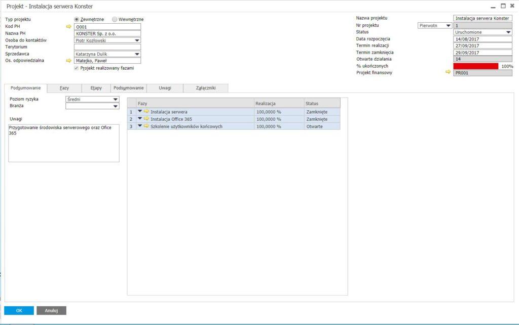Zarządzanie projektami w SAP Business One - fazy projektu