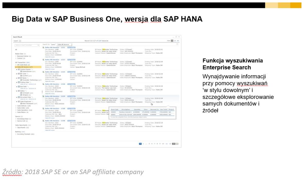 Enterprise search - wyszukiwarka SAP Business One HANA
