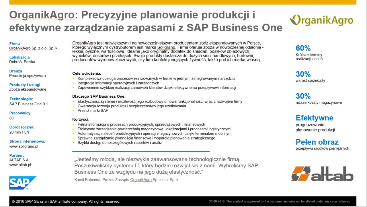 Wsparcie planowania strategicznego z SAP Business One