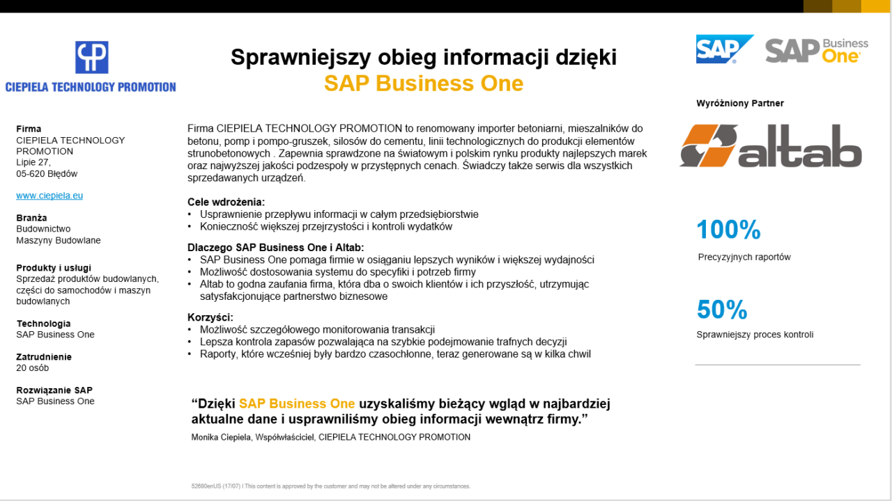 Generowanie raportów w kilka chwil w SAP Business One