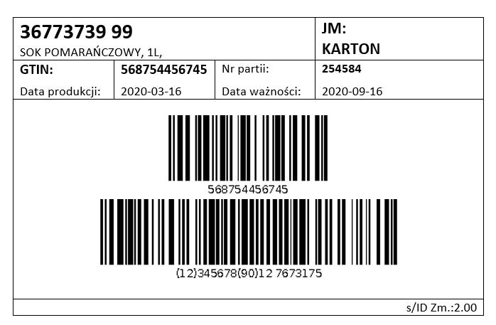 etykieta produktu końcowa- etykieta wyrobu gotowego -1 rejestracja produkcji - zlecenia produkcyjne