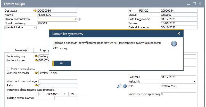 Czynny płatnik VAT w SAP Business One